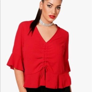 Boohoo red blouse